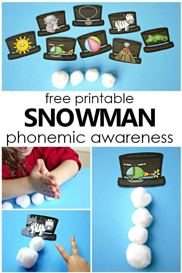 Free Printable Build a Snowman Phonemic Awareness Activity-Syllable and Phoneme segmentation activity for preschool and kindergarten #preschool #kindergarten #freeprintable #freebie #phonemicawareness #literacy