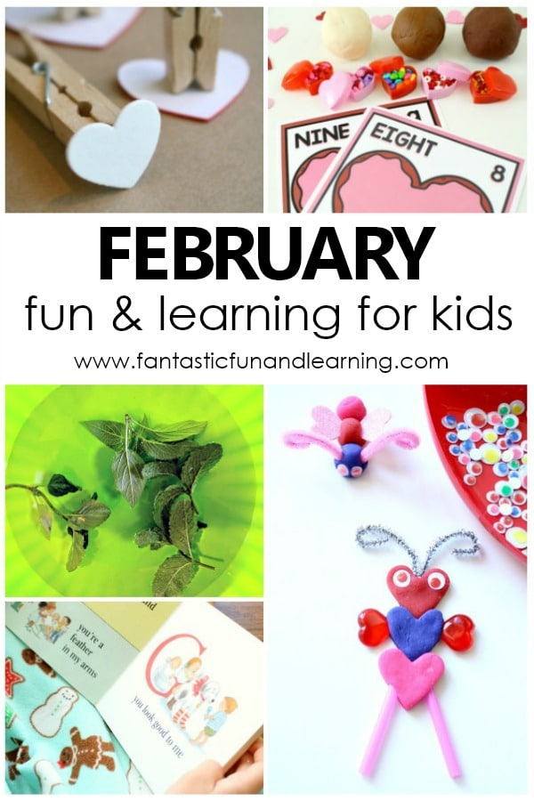 Fun things to do with kids in February. February preschool activities with free printable kids activity calendar #february #preschoolathome #homepreschool #kidsactivities
