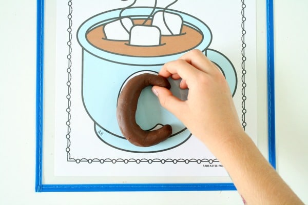 Hot Chocolate Play Dough Literacy Activity for Winter