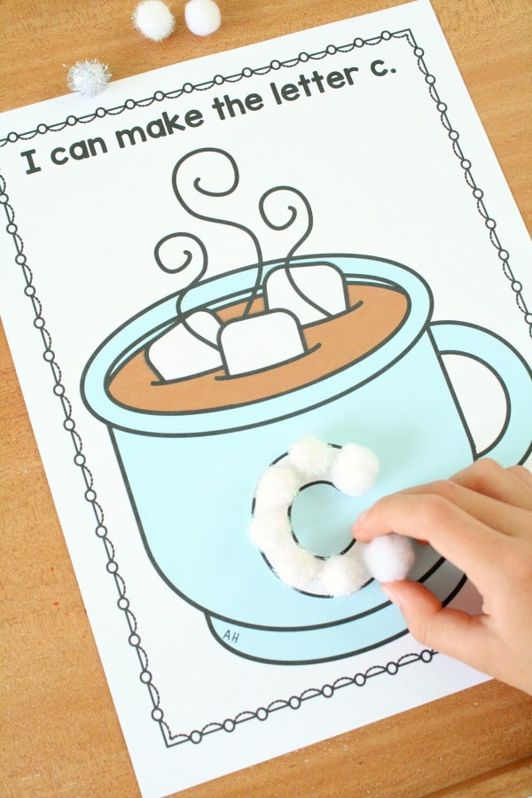 Hot Cocoa ABC Mats for Winter Preschool Theme #winter #prek #preschool #alphabet