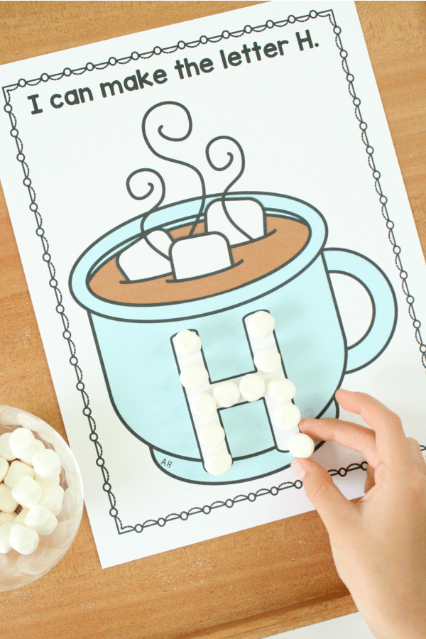 Marshmallow Letters with Free Printable Hot Cocolate Alphabet Printable #winter #kids #kidsactivities #alphabet #prek