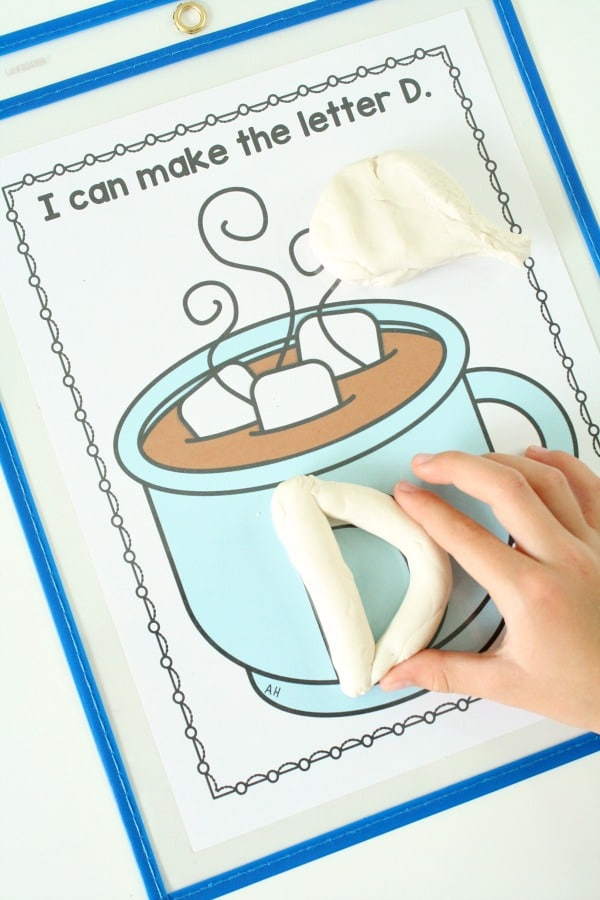 Marshmallow Play Dough Letter Activity for Preschool #preschool #kindergarten #winter
