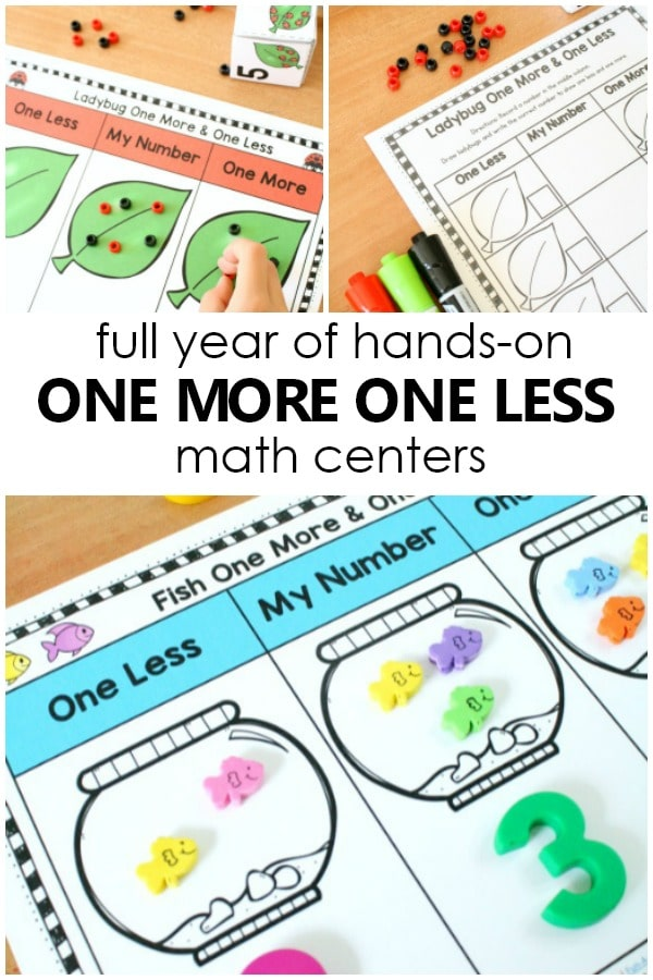 Practice one more and one less all year long with a full year of hand-on one more one less math centers #preschool #kindergarten #numbersense