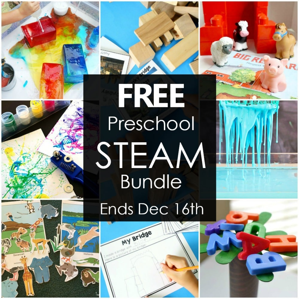 Free Preschool STEAM Bundle-Get your copy before December 16, 2018 #preschool #STEAM #kids #STEM #freeprintable #freebie