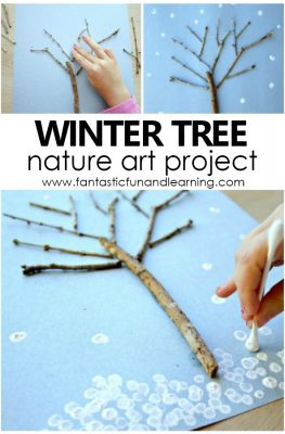 Winter Tree Art for Kids. Nature Art Project for preschool and kindergarten #winter #kidart #preschool #kindergarten