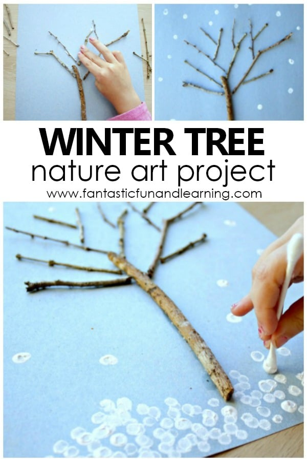 Winter Tree Art for Kids. Nature Art Project for preschool and kindergarten #winter #kidart #preschool #kindergarten