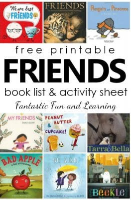 Books About Friendship. Free printable friends book list and writing activity. #preschool #kindergarten