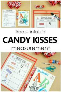 Free Printable Hershey Kisses Valentine's Day Nonstandard Measurement #preschool #kindergarten #valentinesday #math