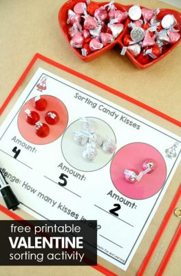 Free Printable Valentine's Day Activity-Sorting Chocolate Kisses and Adding #preschool #kindergarten #valentinesday