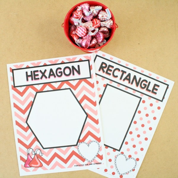Preschool Valentine Activity-Making Shapes with Chocolate Kisses
