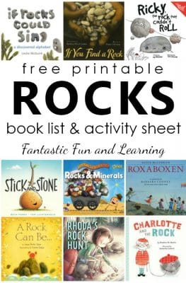 Books About Rocks for Kids. Free printable rock book list with writing activity for kids #preschool #kindergarten #booklist #freebie