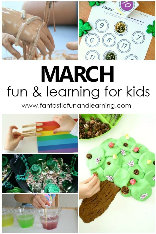 Fun things to do with kids in March. March preschool activities with free printable kids activity calendar #march #preschoolathome #homepreschool #kidsactivities