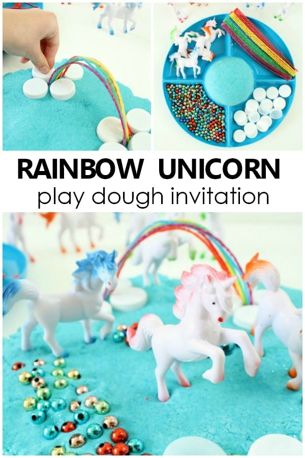 Rainbow Unicorn Play Dough Invitation Play Dough Activity for Kids #preschool #kindergarten