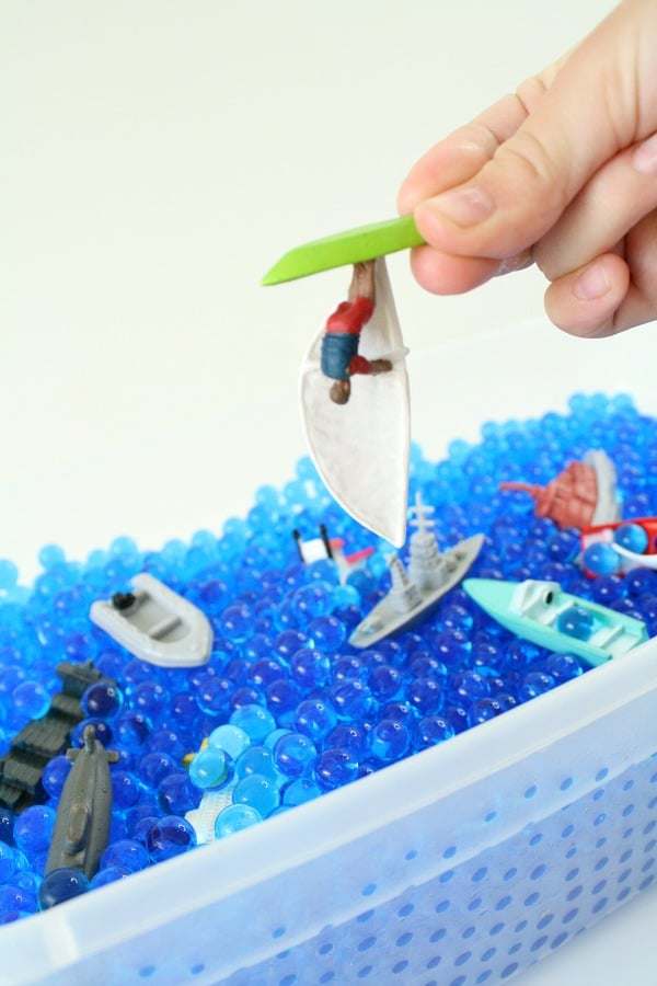 Water Vehicles Toddler Sensory Bin