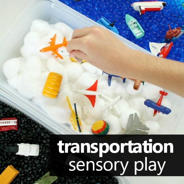 Preschool transportation theme activities-sensory play