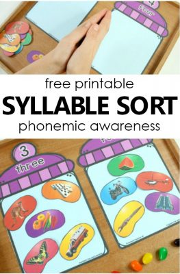 Easter Syllables Phonemic Awareness Activity-Free printable literacy center Easter activity for preschool and kindergarten #preschool #kindergarten #easter #freebie