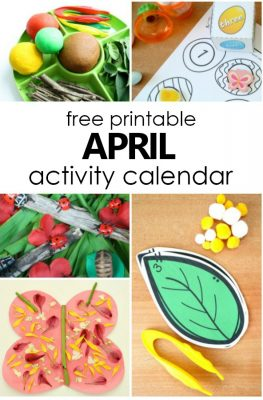 Free Printable April Activity Calendar. Fun Things to Do with Kids in April #homeschoolpreschool #preschoolathome #kidsactivities #april