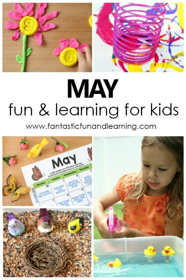 Free Printable May Kids Activities Calendar #preschool #kidsactivities