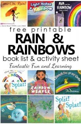 Free Printable Rain and Rainbows Book List for Kids. Books About the Rain. Books About Rainbows #spring #preschool #kindergarten #booklist #freeprintable