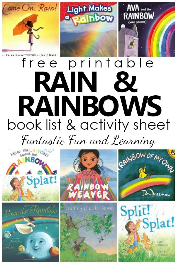 Free Printable Rain and Rainbows Book List for Kids. Books About the Rain. Books About Rainbows #spring #preschool #kindergarten #booklist #freeprintable