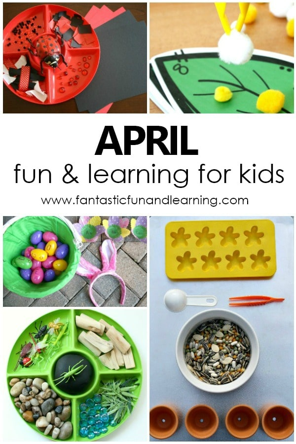 Monthly Activity Calendar for Kids. April Learning Activities and Free Printable April Activity Calendar #freeprintable #april #activitiesforkids #preschool