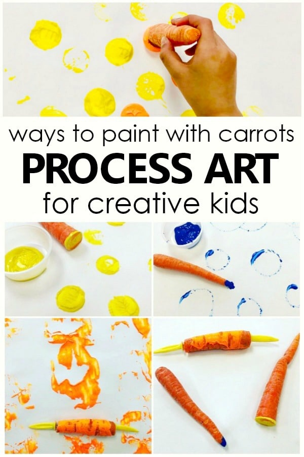 Painting with Carrots Open-Ended Art Activity. Art project for Easter, Spring, or Vegetable theme activities in preschool and kindergarten #preschool #kindergarten #spring #easter #kidart #processart
