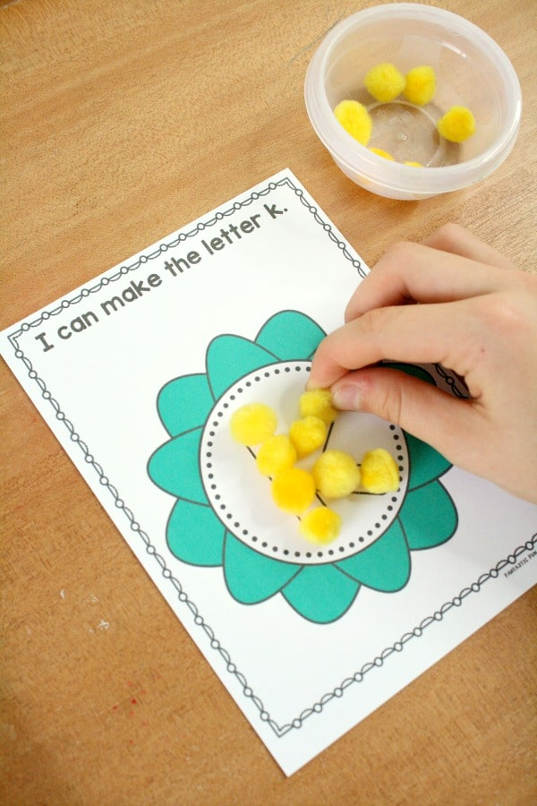 Pollen Letters for Preschool Flower Theme #preschool #springactivities #freebie