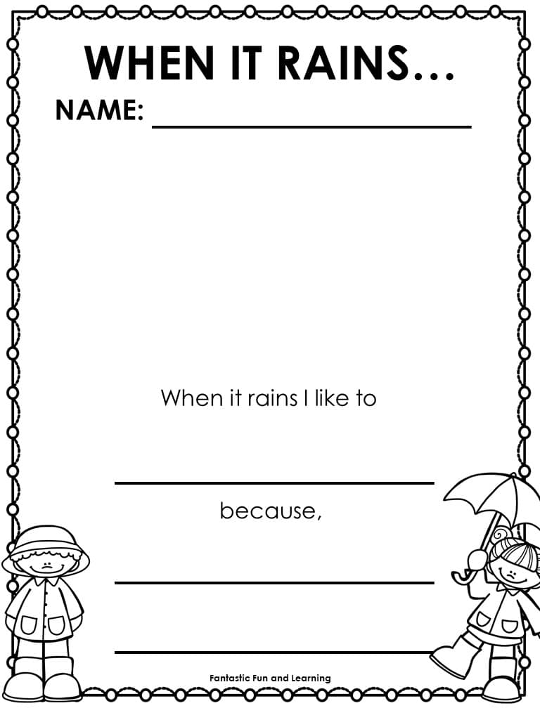 When it Rains Writing Activity #preschool #kindergarten #freeprintable