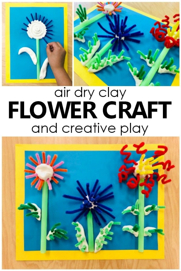 Air Dry Clay Flower Craft for Kids. Creative play art project for preschool and kindergarten. #preschool #kindergarten #kidart #artforkids #springactivities #flowertheme