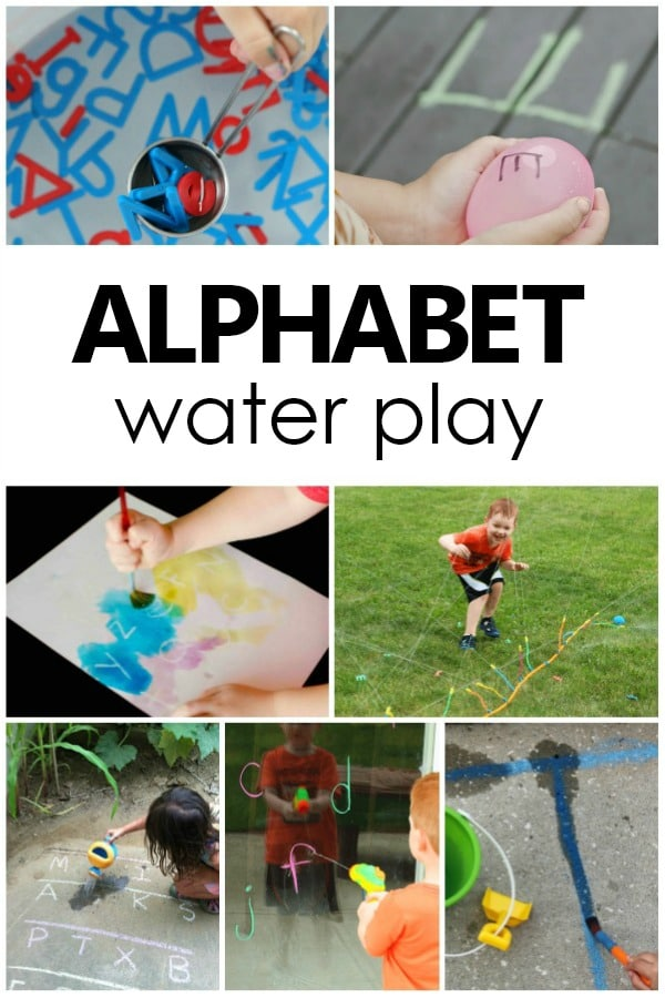 Alphabet Water Play. Toddler and Preschool Alphabet Activities. ABC water play. #preschool #toddler #alphabet