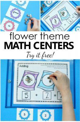 Flower Theme Spring Math Center Number Sense Activities for Preschool and Kindergarten #prek #preschool #kindergarten #math #springactivities