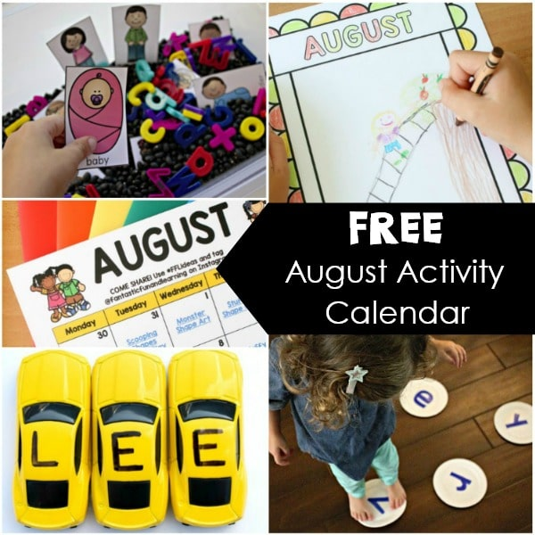 Free Printable August Activity Calendar. Preschool Activities for August