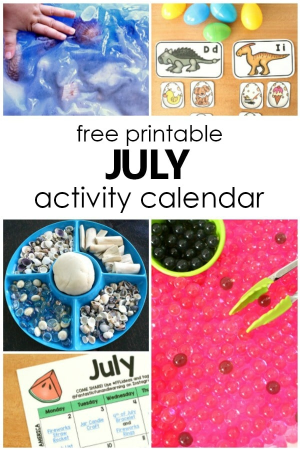 Free Printable July Activity Calendar with Fun Kids Activities for Summer #preschool #freeprintable #summerwithkids #summeractivities