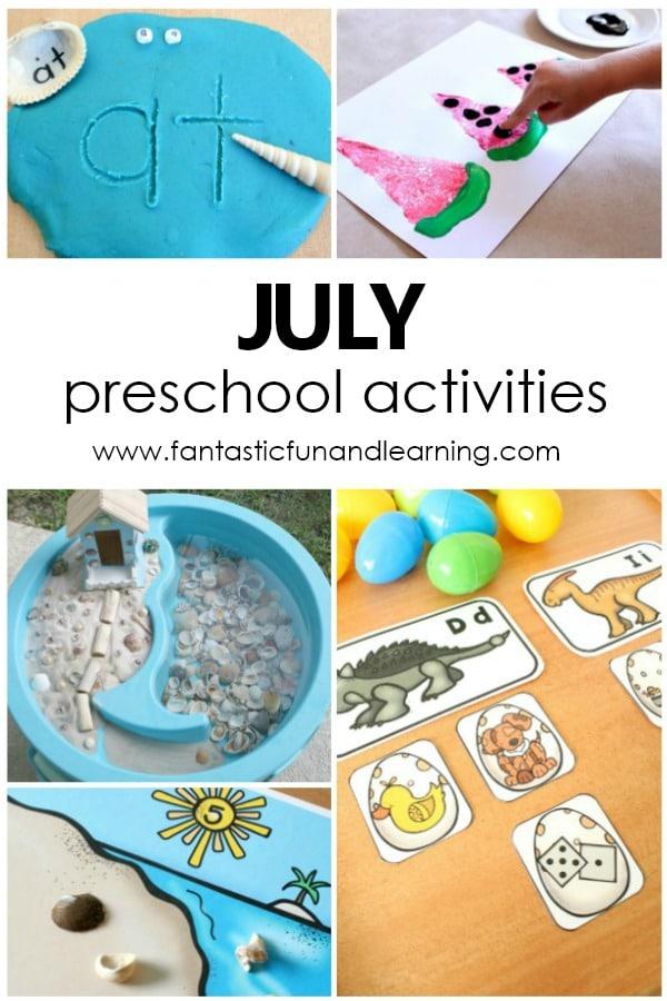 Free Printable July Preschool Activity Calendar #freeprintable #preschool #summer #july #kidsactivities