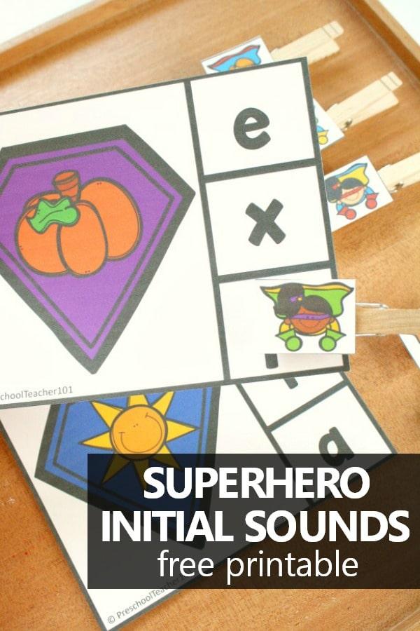 Free Printable Superhero Beginning Sounds Activity. Preschool Superhero Theme Activities #preschool #kindergarten #phonics #initialsounds