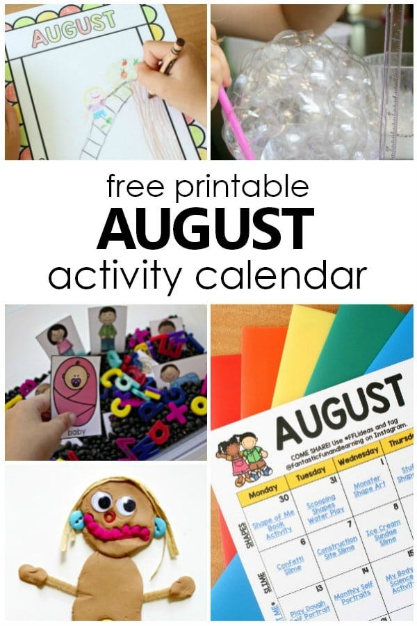 Free printable August Activity Calendar. Preschool Activities for August #preschool #freeprintable #kidsactivities