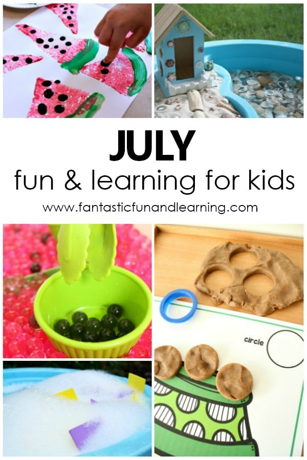 Fun Play and Learning Activities for Kids-July Activity Calendar Freebie #preschool #homeschoolpreschool #preschoolathome