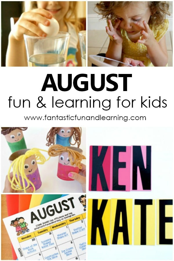 Fun Things to Do with Kids in August. Free Printable August Kids Activity Calendar #prek #preschool #kindergarten