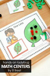 Hands-on Ladybug Spring Math Centers for Preschool and Kindergarten. Number Sense Math Activities #preschool #kindergarten #math