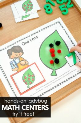 Hands-on Ladybug Spring Math Centers for Preschool and Kindergarten. Number Sense Math Activities #preschool #kindergarten #math