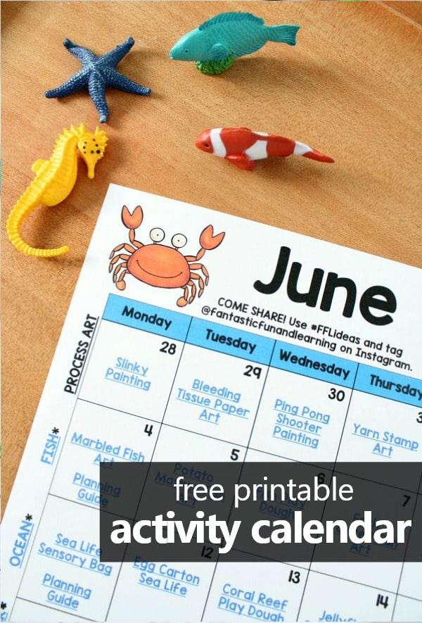 Free Printable June Activity Calendar. June Preschool Activities and Preschool Summer Themes #preschool #summer #kidsactivities