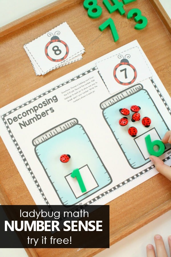 Ladybug Number Sense Math Activities #preschool #math #kindergarten #numbersense #freeprintable