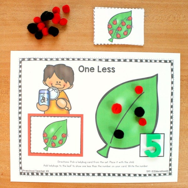 One Less Ladybug Number Sense Activities-Spring Math Centers