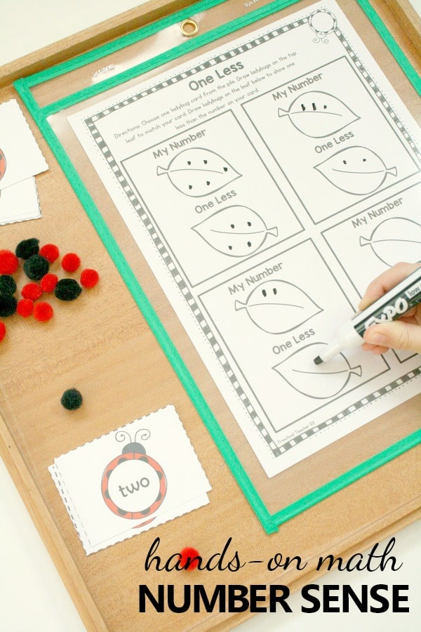 Practice counting and one less with this ladybug spring math printable for preschool and kindergarten