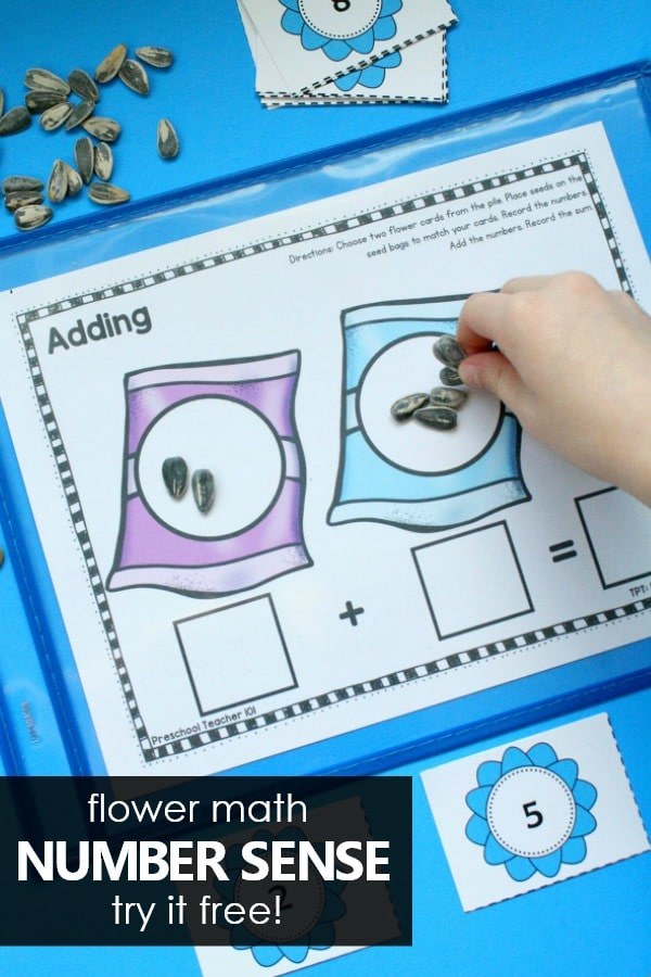 Spring Flower Number Sense Math Activities for Preschool and Kindergarten. Try these free printable addition and subtraction activities for your spring math centers. #preschool #kindergarten #mathcenters #math #springactivities
