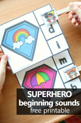 Superhero Initial Sounds Activity Freebie. Free printable superhero theme activity for preschool or kindergarten #preschool #freebie #literacy #kindergarten