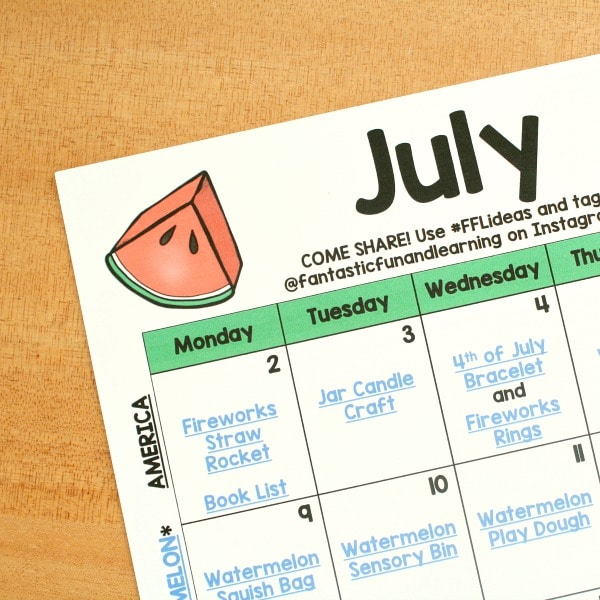 July Preschool Activity with Printable Calendar