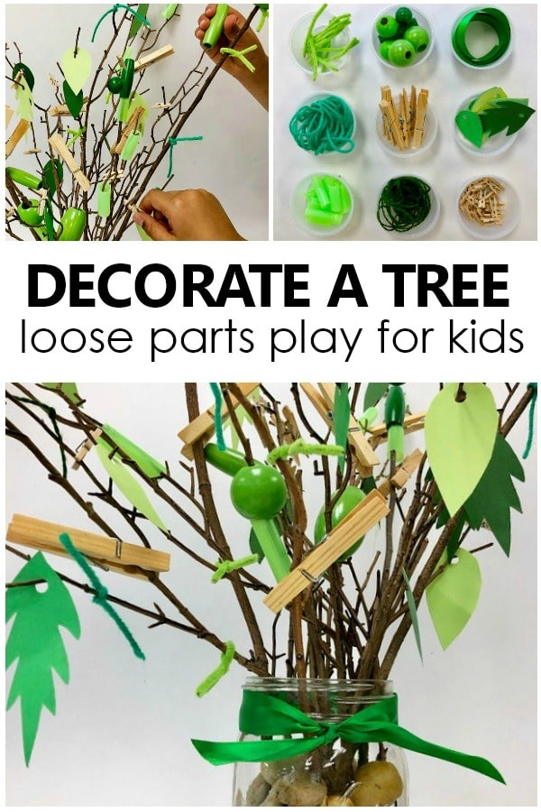 Decorate a Tree Loose Parts Play for Kids-Toddler and Preschool Collaborative Pretend Play and Art Project for Tree Theme and Spring Activities #kidart #preschool #toddler #loosepartsplay