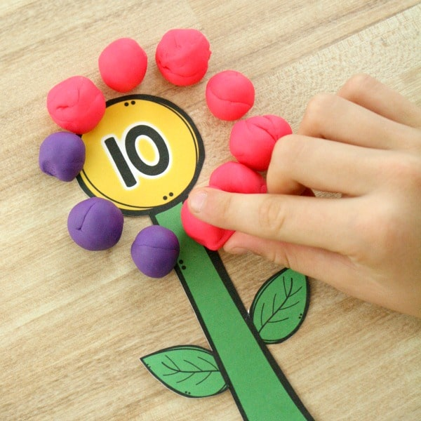 Flower Math Activity with Play Dough. Preschool Addition Activity