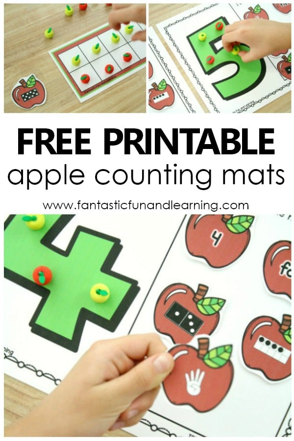 Free Printable Apple Counting Mats. Counting numbers in preschool and kindergarten. Apple theme activities. #preschool #kindergarten #appletheme #fallactivities